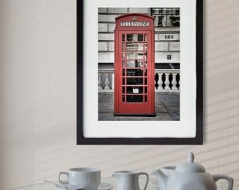 London Phone Booth Photography, Red Phone Box, London Print, Fine Art Print, Travel Photography, British Decor, Wall Art, Home Decor