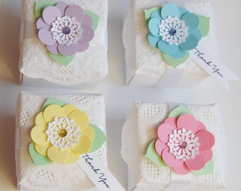 Wedding or party Favors, box with ribbon and flower, lgt. blue flower, yellow flower, lgt. pink flower favor, lavender flower favor