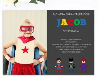Superhero Birthday Invitation - Superhero Invitation - Printable Invitation - Superhero Invite -Superhero Birthday Invite - Personalized