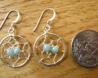 Dreamcatcher Nest Silver Blue Beaded Earrings