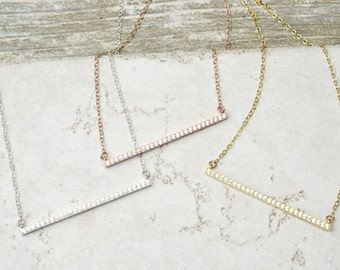 Sparkling Bar Necklace/ Crystal CZ Bar Necklace / Sterling Silver, Gold, Rose Gold / Delicate Necklace / Layering Necklace