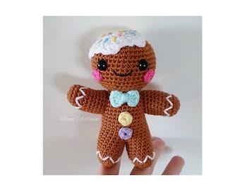 Gingerbread man PDF PATTERN, amigurumi crochet