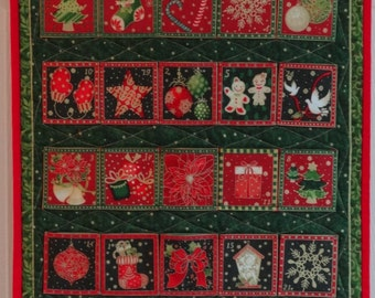 Quilted Red, Green, and Gold Advent Calendar