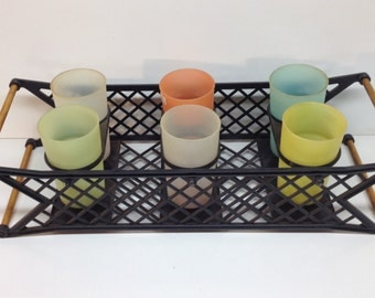 Unique Funky Vintage Burrite Teeter Tray Tumbler Set Cups and Tray - Plastic Cups for Serving Drinking Flower Pot Storage Display
