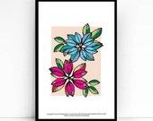 Blue and Pink Flower Print - 5x7 print - Originally Pen and ink- Home Decor - Flower artwork -Wall art print - Housewarming gift -Dorm decor