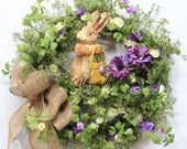 Spring Easter Wreath, Easter Bunny Wreath, Country Easter Decor, Straw Bunny with Easter Bag, Easter Bunny Door Wreath, Natural Burlap Bow