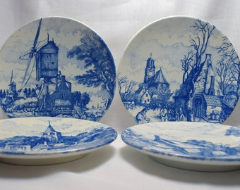 Delftware Blue Four Seasons Display Plates Set of 4