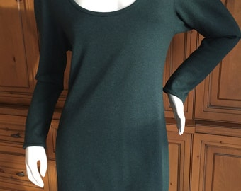 Halston 1970's Green Cashmere Mini Dress