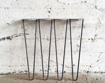 Set of 4 Hairpin Legs | 27'', 28'', 29'' Inch Inches (2 or 3 rods) Table Legs Metal Legs Raw Steel Legs DIY Leg