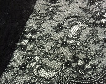 Black chantilly Lace fabric, stretch 3%, black chantilly lace fabric, flower pattern, french  M000042