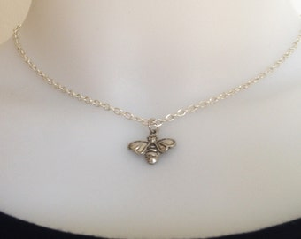 Bee necklace - antique silver - bee charm - bff necklace - friendsh gift - gift for her