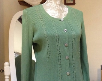 Vintage Cath Kidston Green Cardigan/size 16.