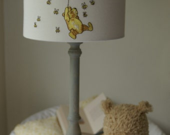 Winnie the Pooh and Piglet - Embroidered Handmade Nursery Lampshade 20cm Drum