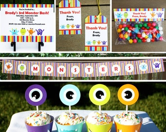 Monster Party - Invitation & Decorations Kit - Printable Birthday Party Package - Instant Download - Editable Text