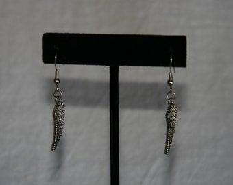 Silver wing french hook earrings