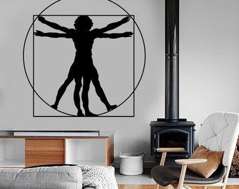 Wall Vinyl Decal Leonardo Da Vinci Virtuvian Man Contemporary Modern Decor 1311dz
