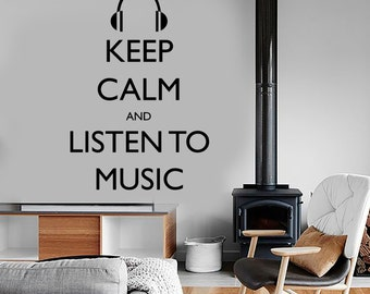 Wall Vinyl Quote Keep Calm And listen To Music Guaranteed Quality Decal Mural Art 1516dz