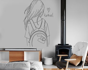 Wall Decal Fashion Girl With Purse Sexy Beautiful Vinyl Sticker Mural Art 1592dz