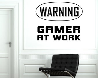 Wall Decal Gaming Warning Gamer At Work Sign Vinyl Decal Sticker 1804dz