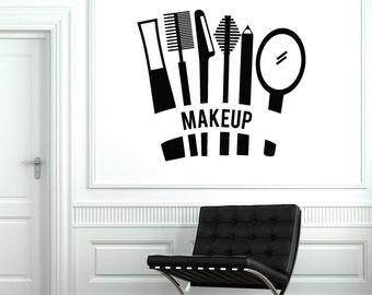 Wall Vinyl Decal Hair Salon Beauty Cosmetics Mascara Lipstick Makeup Make Up Decor 2032di