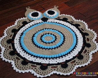 Handmade Crochet Owl Rug, OWL Play Mat, Home decor, baby nursery, Ready to ship
