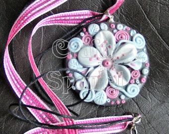 Vintage Blue - Floral Pendant