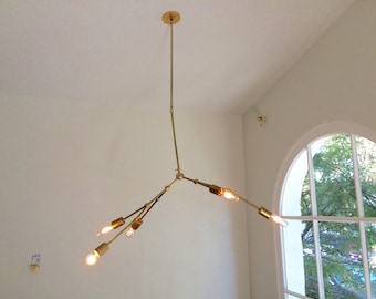 "J&B ""Swaggable"" Brass Chandelier"