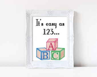 Nursery Print - ABC Art, Nursery Wall Art, Block Letter, Nursery Art, Baby Print, Nursery Wall Decor, Nursery Decor