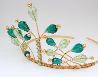 tiara, green and gold tiara, wedding tiara, bridal tiara, prom tiara, traditional tiara, tiara crown, vintage tiara, regal tiara
