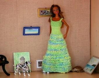 Green knitted Barbie handmade dress - Knit