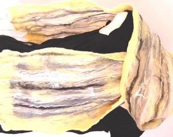 Nuno Scarf Women's Scarves Nuno Felted Scarf Wool Scarf Nuno Felt Clothing Yellow Grey Black Scarf Unique Handmade Scarf Gift for Her Fiber