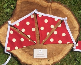 Double Sided Red & Cream Polka Dot Fabric Bunting