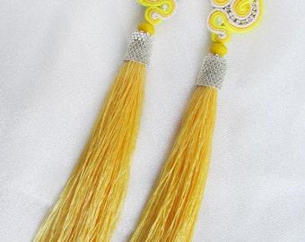 Yellow Soutache earrings with tassels