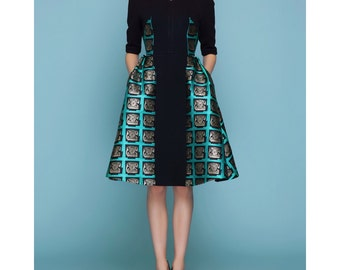 Pop poster- couture dress, telephone pattern jacquard dress for  15f/w