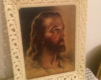 Vintage Jesus Litho Print in Plastic Frame Made in USA by Soroka Sales Inc.