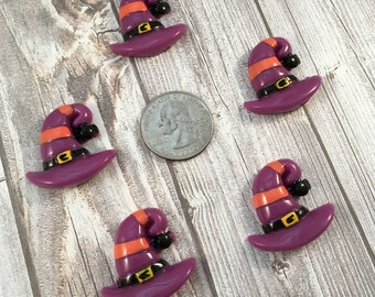 Witch hat resin - Halloween cabochon - Halloween craft supply - 5pc lot - Orange and purple - Witch craft DIY - Jewelry supply - DIY witch