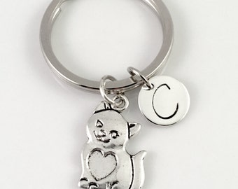 Cat Keychain, Kitty keychain, hand stamped initial charm, personalized keyring, backpack key chain