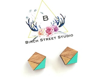 Mint and Gold Earrings/ Tiny Stud Earrings/ Laser Cut Wooden Earrings/ Geometric Earrings/ Laser Cut Earrings/ Gifts under 20/ Cute Earrings