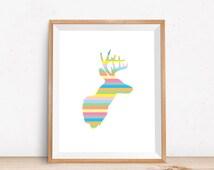 Deer Antler Decor, Deer Head Print, Stag Head Print, Deer Antler Art, Print Wall Art, Deer Head Art, Deer Antler Print, Rainbow