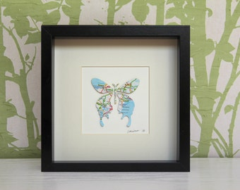 Personalised Butterfly Map Picture | Framed Map Butterfly Design. Any Location. Custom Map Art. Personalised Map. Box Frame.