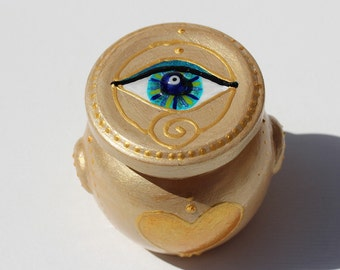 """Happiness Jar """"Eye of Hilarion"""" Wishing Pot little hand painted good luck altar home decor gift glass storage jar blue turquoise golden"""