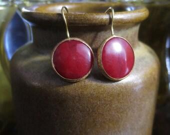 Red Onyx Brass Earrings