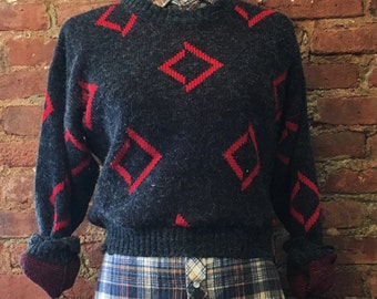 Vintage Cropped Sweater, Reworked Sweater Size Large