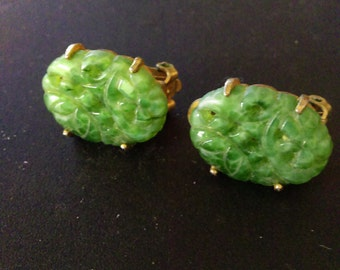 Jade & Gold clip on earrings