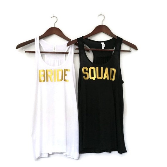 Bachelorette party shirt black and white squad tank tops for Bucket squad gold shirt