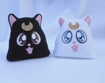 Sailor Moon Inspired Cat Plushies Artemis and Luna Cats