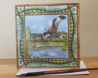 Red Kite Card, Blank Square Greetings Card featuring Bird of Prey at the Galloway Kite Trail, Stroan Viaduct, Dumfries & Galloway, Scotland