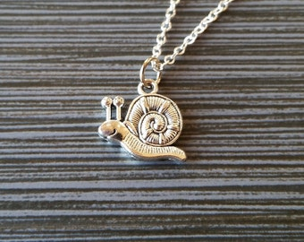 Silver Snail Necklace - Snail Charm Pendant - Personalized Necklace - Custom Gift - Initial Necklace - Personalized Gift - Slug Jewelry