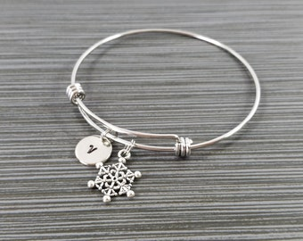 Snowflake Bangle Bracelet- Snowflake Charm Bracelet - Adjustable Bracelet Bangle - Christmas Bracelet - Initial Bracelet - Holiday Bracelet