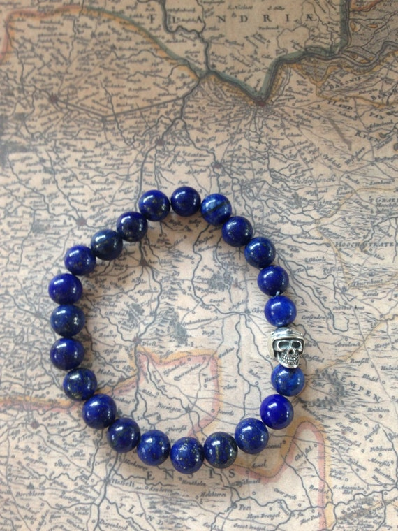 Natural men beads bracelet Lapis Lazuli & Sterling Silver Biker Bead / combine with your apple watch strap/band
